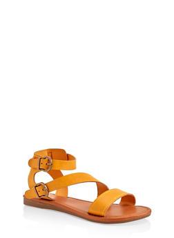 Asymmetrical Buckle Strap Sandals - 1112027612648