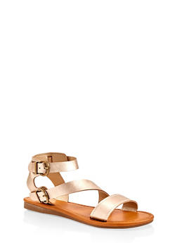 Asymmetrical Buckle Strap Sandals - GOLD - 1112027612648