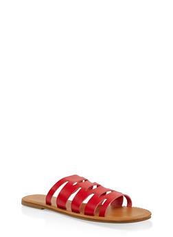 Laser Cut Slide Sandals | 1112027615812 - RED - 1112027615812