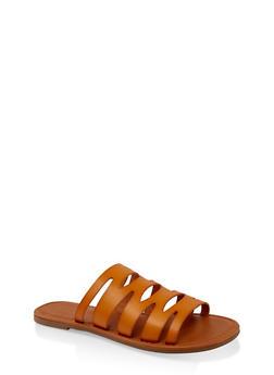 Laser Cut Slide Sandals | 1112027615812 - MUSTARD - 1112027615812