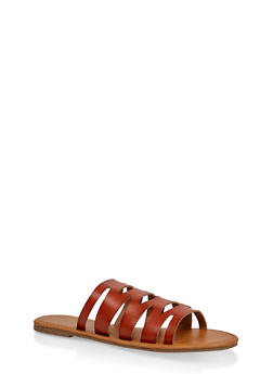 Laser Cut Slide Sandals | 1112027615812 - CHESTNUT - 1112027615812