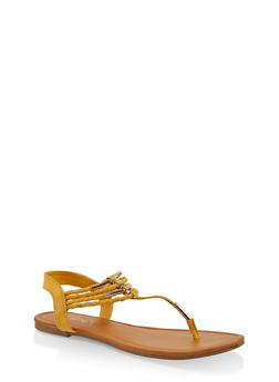Braided Strap Thong Sandals - 1112027615815