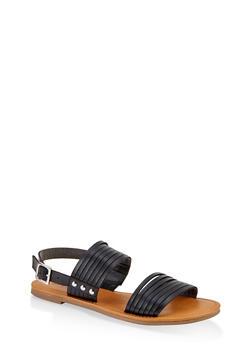 Multi Band Slingback Sandals - BLACK - 1112027615825