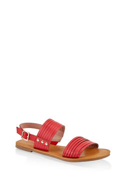 Multi Band Slingback Sandals - RED - 1112027615825