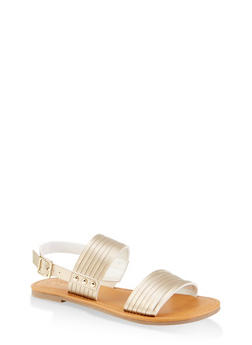 Multi Band Slingback Sandals - GOLD - 1112027615825