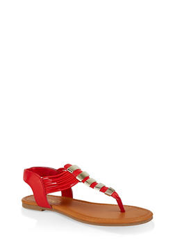 Elastic Band Thong Sandals - 1112027615859