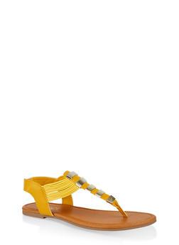Elastic Band Thong Sandals - 1112027615859