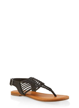 Strappy Thong Sandals - BLACK - 1112027615889