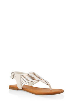 Strappy Thong Sandals - WHITE - 1112027615889