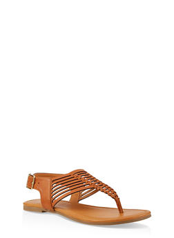 Strappy Thong Sandals - TAN - 1112027615889