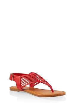 Strappy Thong Sandals - RED - 1112027615889