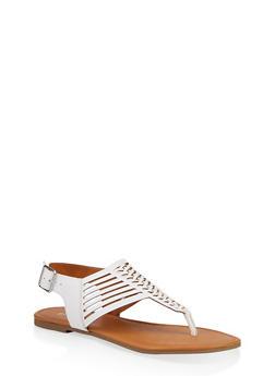 Woven Laser Cut Thong Sandals - 1112027615890