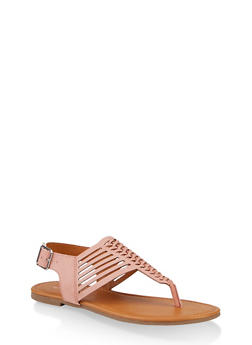 Woven Laser Cut Thong Sandals - 1112027615890
