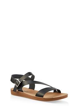 Asymmetrical Strap Sandals - 1112056634025