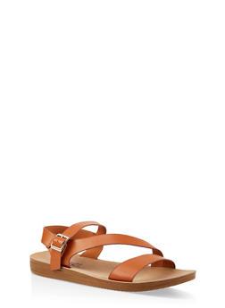 Asymmetrical Strap Sandals - TAN - 1112056634025