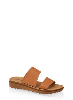 Two Band Platform Slide Sandals - TAN - 1112056635003