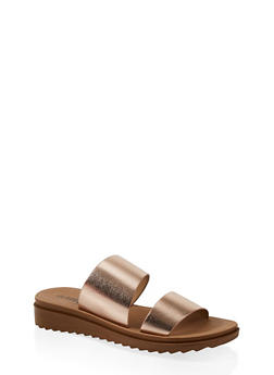 Two Band Platform Slide Sandals - ROSE - 1112056635003