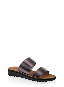 Two Band Platform Slide Sandals - PEWTER - 1112056635003