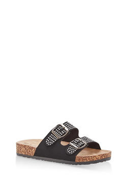 Studded Double Strap Footbed Sandals - 1112056638970