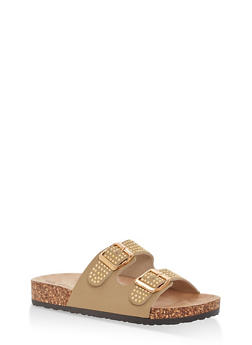 Studded Double Strap Footbed Sandals - TAN - 1112056638970