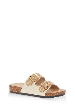 Studded Double Strap Footbed Sandals - GOLD - 1112056638970