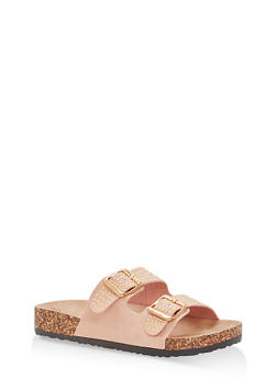 Studded Double Strap Footbed Sandals - BLUSH - 1112056638970
