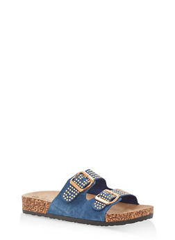 Studded Double Strap Footbed Sandals - BLUE DENIM - 1112056638970