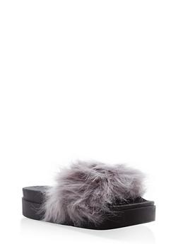 Faux Fur Platform Slides - 1112061713437