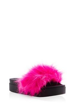 Faux Fur Platform Slides - PINK - 1112061713437