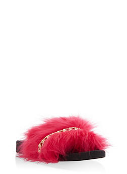 Faux Fur Chain Detail Slides - 1112061717221