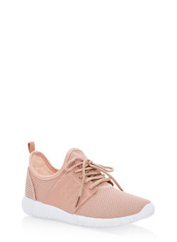 Textured Knit Lace Up Sneakers - BLUSH - 1112062723532