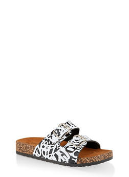 Printed Buckle Strap Footbed Sandals - 1112062726234