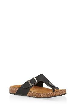 Thong Footbed Sandals - BLACK - 1112062727299