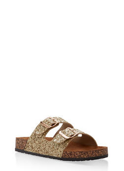 Double Buckle Footbed Sandals - GOLD/GOLD GLITTER - 1112062727300