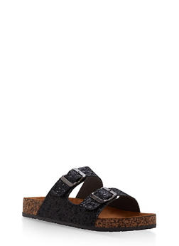 Double Buckle Footbed Sandals - BLACK GLITTER - 1112062727300