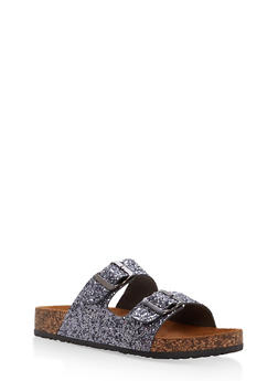 Double Buckle Footbed Slide Sandals - PEWTER GLITTER - 1112062727300
