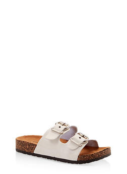 Metallic Double Buckle Footbed Sandals - 1112062727302