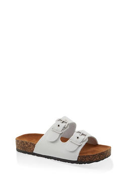 Metallic Buckle Footbed Sandals - WHITE - 1112062727305