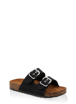 Metallic Buckle Footbed Sandals - BLACK SUEDE - 1112062727305