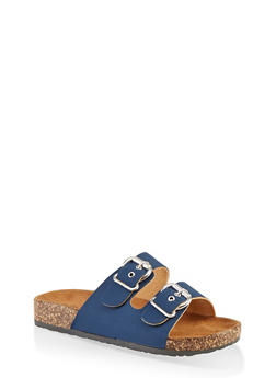 Metallic Buckle Footbed Sandals - NAVY S - 1112062727305