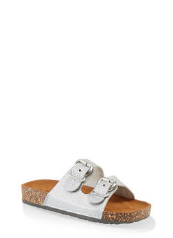 Double Buckle Footbed Sandals - SILVER - 1112062727306