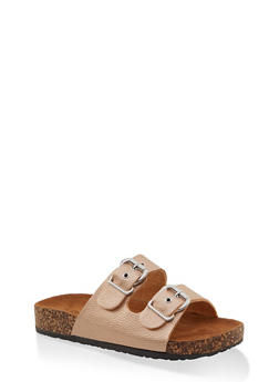 Double Buckle Footbed Sandals - ROSE - 1112062727306