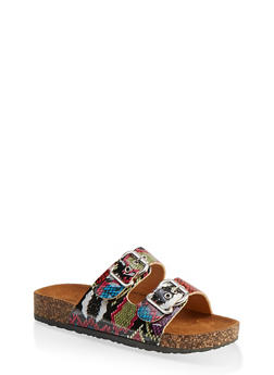Double Buckle Footbed Sandals - 1112062727306