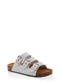 Triple Buckle Footbed Sandals - WHITE - 1112062727307