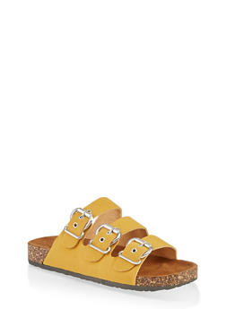 Triple Buckle Footbed Sandals - 1112062727307