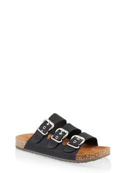 Triple Buckle Footbed Sandals - BLACK SUEDE - 1112062727307