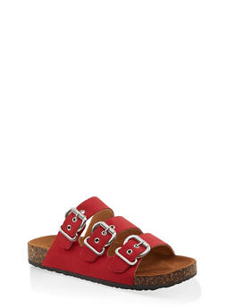 Triple Buckle Footbed Sandals - RED S - 1112062727307