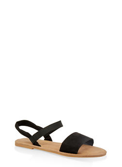 Elastic Ankle Strap Sandals - BLACK SUEDE - 1112068416468