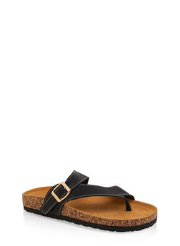 Asymmetrical Toe Ring Footbed Slide Sandals - BLACK - 1112073541010