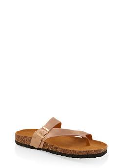 Asymmetrical Toe Ring Footbed Slide Sandals - 1112073541010